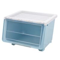 斜口收纳箱大号前开式玩具透明整理箱塑料衣服翻盖式侧开盒 北欧蓝 加大号