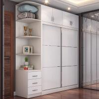 衣柜推拉门小卧室现代简约家具出租屋经济型白色加顶移门衣橱 1.5米衣柜(不含) 2门