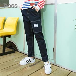 PASS2018新款春装直筒休闲牛仔裤女宽松口袋小脚裤