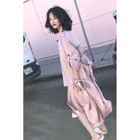 2018春夏季新款韩版丝质修身显瘦吊带连衣裙A字裙女百搭宽松复古西装领系带风衣女时尚套装