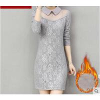 秋冬新款修身娃娃领中长款保暖蕾丝上衣加厚加绒打底衫女长袖