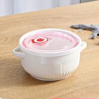 便当盒可爱 饭盒便当盒保鲜碗带盖 陶瓷卡通三格多格饭盒三件套可微波炉