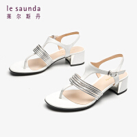 莱尔斯丹 夏季女款一字细带粗跟搭扣晚晚鞋仙女凉鞋AM34201