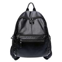2018潮女士包包双肩包女韩版休闲百搭大容量包旅行包软皮背包 黑色