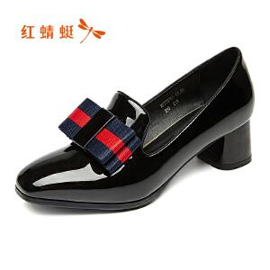 红蜻蜓女鞋2017秋季新款正品粗跟优雅蝴蝶结女鞋舒适中跟职业单鞋