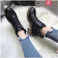 冬季新款加绒马丁靴女鞋英伦风短靴粗跟单靴百搭机车靴女靴子