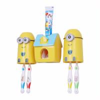 儿童牙刷杯架 儿免打孔吸壁式自动挤牙膏器套装卡通可爱刷牙杯漱口杯架 小萌人套装(蓝)