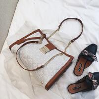 新款大包包2018夏新款女包欧美时尚菱格链条包潮锁扣手提包百搭单肩包