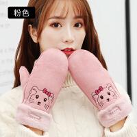 手套女韩版秋冬触摸屏防风学生保暖可爱甜美加绒加厚毛线分指手套