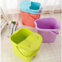 双庆加厚加高洗脚桶塑料足浴桶足浴盆加深洗脚盆带盖子 紫色