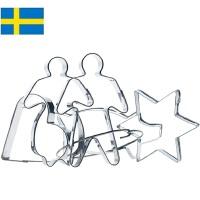 【当当海外购】瑞典进口Orthex不锈钢烘焙饼干曲奇模具水果切模5件套装 (6cm)