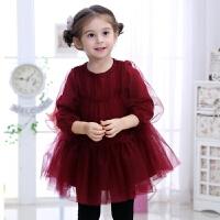 女童红色连衣裙秋加绒加厚儿童新年装蓬蓬裙裙子网纱公主裙韩版 酒红色