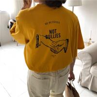 2018夏季韩国学院风简约圆领前后字母握手图案印花宽松短袖T恤女 黄色 均码