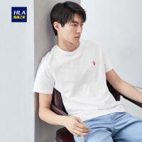 HLA/海澜之家时尚绣标短袖T恤2019夏季新品舒适圆领短袖T恤男