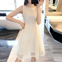 2018春季新款欧根纱小清新蕾丝连衣裙女夏中长款修身显瘦蓬蓬裙子 米黄色