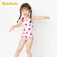巴拉巴拉儿童泳衣女童连体训练泳衣泳帽小童宝宝学生女孩速干游泳