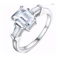 奢华大气精致结婚订婚戒指简约百搭仿真钻戒对戒女一克拉银镀铂金