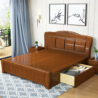实木床1.8米高箱储物床双人床1.5M现代简约中式主卧经济型大婚床