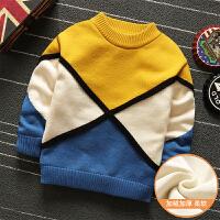男童加绒毛衣宝宝针织衫男儿童线衣套头圆领加厚打底衫2017新款 黄色