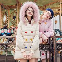 毛菇小象灯笼袖女装2019冬新款中长款宽松学生棉衣可爱外套潮