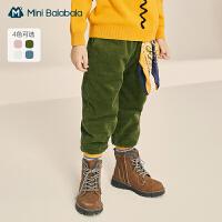 【2件3折价:71.7元】迷你巴拉巴拉儿童长裤2020冬季新款男童女童灯芯绒裤子保暖厚实