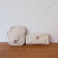 日系复古简约文艺文字学生帆布小笔袋零钱包收纳包收纳袋文具袋女