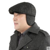 老年帽子加厚护耳毛呢鸭舌帽冬季老人帽冬天男士保暖帽