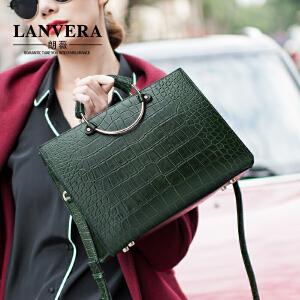 【支持礼品卡】LANVERA 真皮女包2017新款 欧美简约牛皮单肩手提包通勤女士大包包 L2015