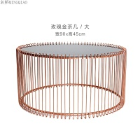 铁艺钢化玻璃圆形茶几设计师家具简约个性北欧风格茶几咖啡桌边几 整装