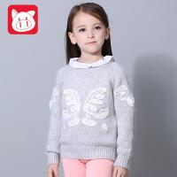 小猪班纳童装女童毛衣针织衫冬装儿童韩版毛线衣套头中大童打底衫
