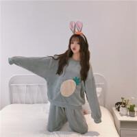秋冬女装韩版甜美刺绣菠萝加绒加厚长袖睡衣睡裤两件套家居服套装 均码
