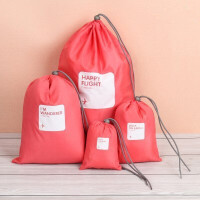 旅行袋收纳套装衣物收纳袋整理袋行李分装打包袋防水衣服整理包 西瓜红 四件套