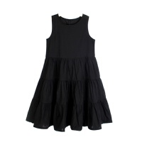 女童连衣裙夏装背心裙韩版中大童纯棉子长裙公主度假沙滩裙 黑色 不胖的按身高拍