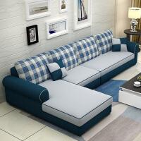 布艺沙发小户型双人三人组合客厅可拆洗棉麻沙发现代美式整装沙发