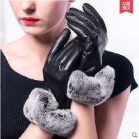 手套 女全指手套 防滑耐磨手套 真皮手套女士加绒触摸屏开车进口山羊皮手套兔毛毛口薄款厚款