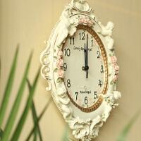 欧式田园树脂装饰品挂饰家居创意钟表时钟豪华浮雕天使客厅大挂钟