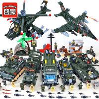 启蒙积木拼装快乐高军事坦克武器男孩玩具模型儿童益智6-7-8-10岁