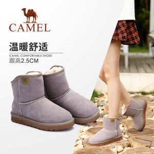 Camel/骆驼女鞋2018冬季新款加绒棉鞋简约休闲雪地靴保暖舒适短靴