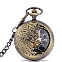 伦迪镂空机械怀表复古翻盖学生男怀表女项链挂表创意古董手表