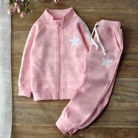 童装2018春秋新款女童运动套装中大童秋装儿童两件套韩版休闲潮衣 粉红色
