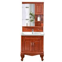 橡木落地式中式实木卫浴浴室柜组合 卫生间洗手洗脸盆面盆洗漱台