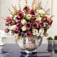 仿真花束 含花瓶套装塑料假干花卉客厅摆件餐桌中欧式人造艺术陶瓷盆栽摆设装饰品Q 咖啡色 5束秋钻玫+双耳