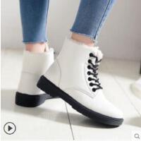新款韩版皮面防水雪地靴女鞋子学生加绒百搭棉鞋