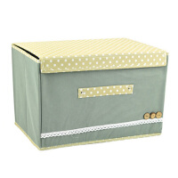 优芬彩色大小两件套扣扣收纳箱日式收纳盒无纺布储物箱 灰色