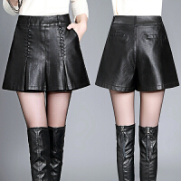 皮裤女短裤新款外穿a字阔腿短裤靴裤高腰显瘦秋冬皮裤裙