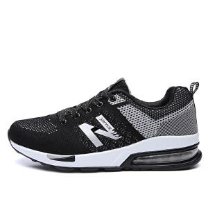 NBanao秋季新百伦新款男鞋休闲潮板鞋透气飞线帆布鞋网面鞋气垫运动鞋跑步鞋子