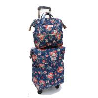 20寸万向轮手提轻便拉杆包旅行包拖包帆布防水印花小清新行李箱登机箱 20寸