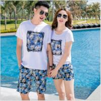 情侣沙滩套装夏纯棉休闲T恤短裤子蜜月海边度假女男士套装 花色 蓝树叶套装 100码