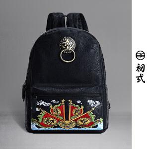 【支持礼品卡支付】初�q新款潮牌休闲复古书包中国风印花旗开得胜双肩包