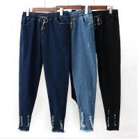 加大码女裤胖mm高腰牛仔裤女九分裤蓝色修身显瘦弹力小脚裤200斤